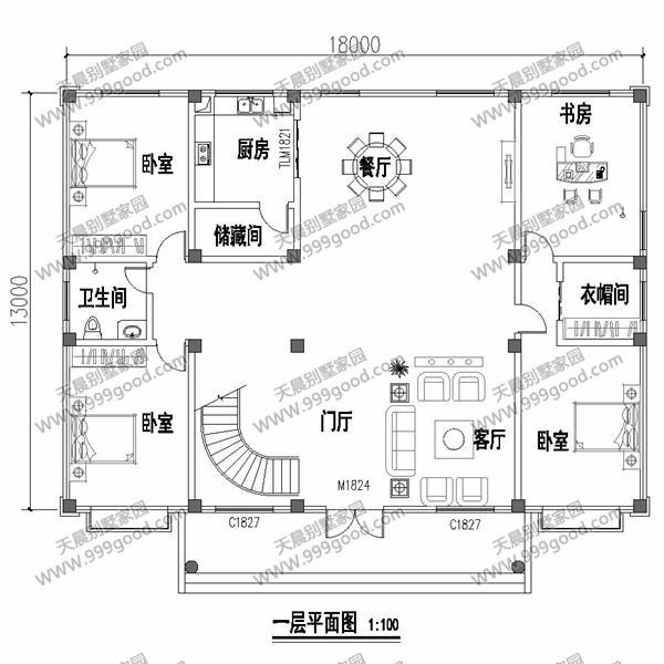 农村别墅设计图纸,13x18米,四方八稳宜生活!
