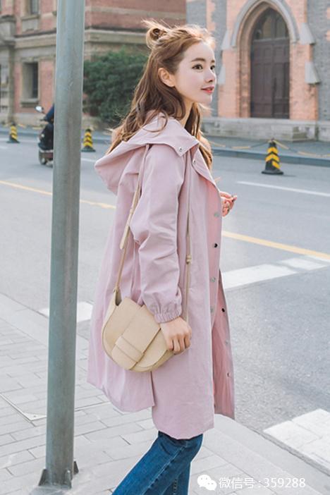 中长款连帽风衣女学生2017新款韩版宽松显瘦百搭春装外套潮