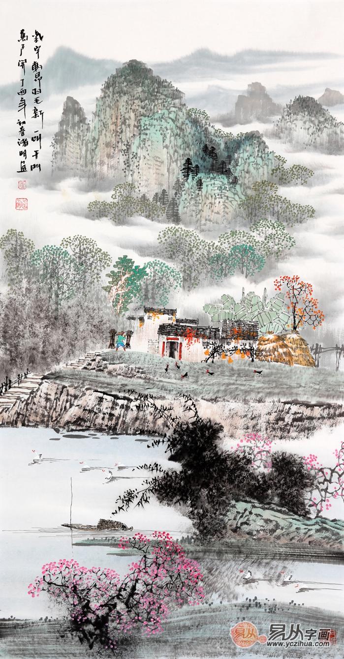 江南水乡 诸明三尺竖幅山水画作品《气宇轩昂》(作品来源:易从网)