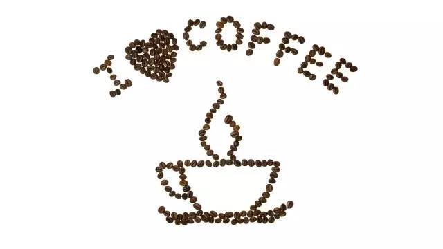 咖啡豆组成的咖啡创意画