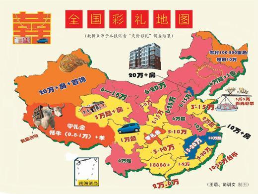 """最新中国彩礼地图出炉:长江流域出现""""零礼金"""""""