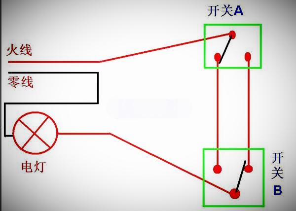 楼梯灯两个开关控制接线图