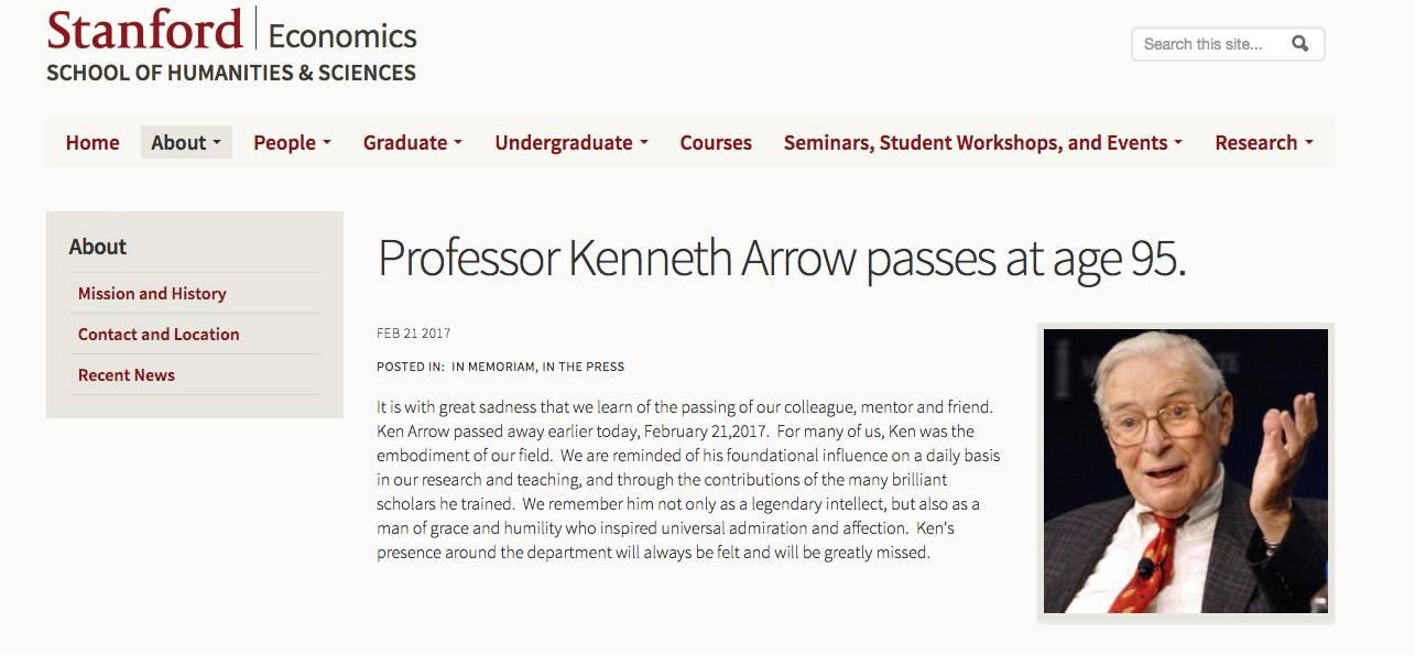 一代经济学宗师肯尼斯·阿罗辞世