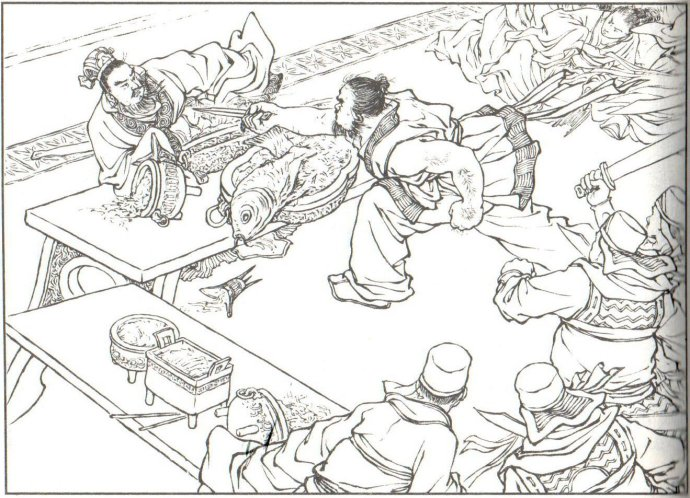 中国古代喝酒手绘