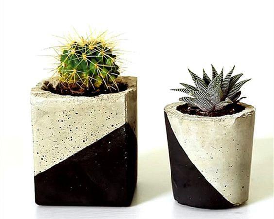 自制北欧风的水泥花盆