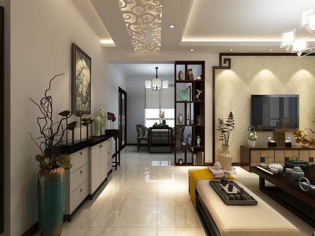 加上石膏线,是新中式的风格,餐桌和餐椅是实木的中式家具,墙面只是用图片