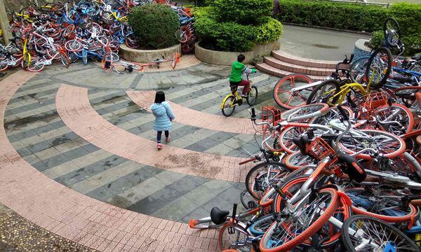 苏宁广场率先规划共享单车停放点 为城市生态