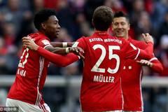 德甲-莱万戴帽穆勒造点+两助攻 拜仁8-0狂屠汉堡