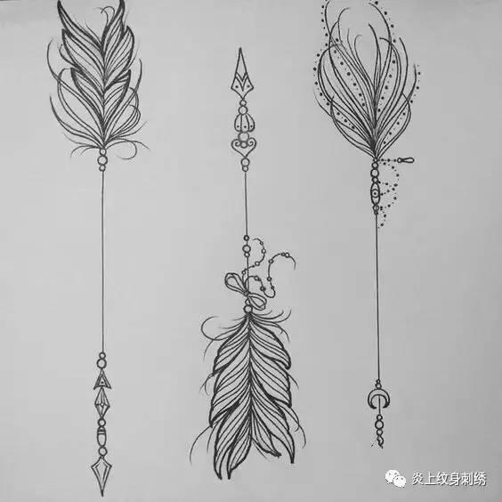 纹身箭头指南针手稿分享展示