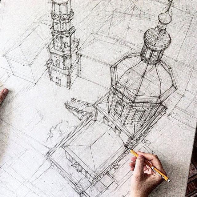 别人画的建筑手绘图,给这透视跪了!