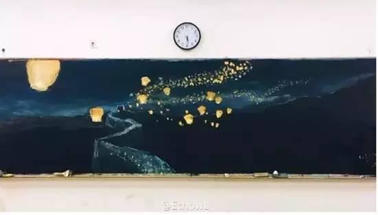 """福州高二女生手绘""""最美黑板报"""" 画活黑板获众赞图片"""