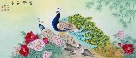 国画大师王一容精品牡丹图《富贵呈祥》(作品来源:易从网)-客厅