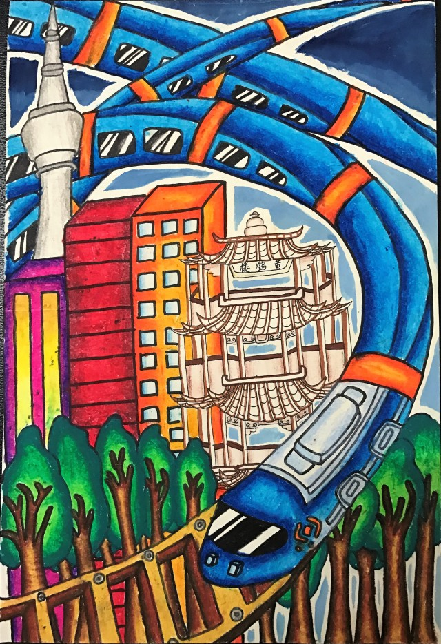 ——优秀绘画作品:《高铁时代》图片