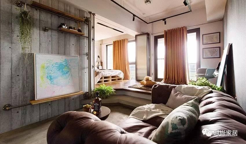 玻璃推拉门替代水泥墙36㎡一居视觉上扩大两倍!