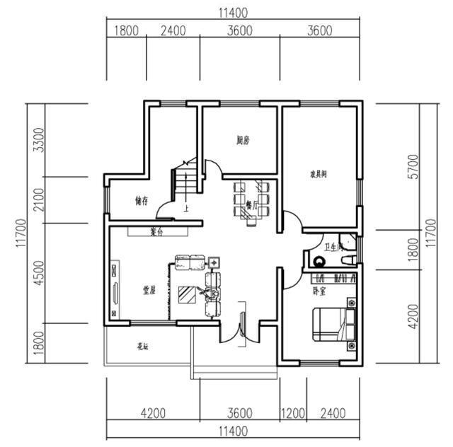 农村自建房实用户型,2层带堂屋,11米,含平面图