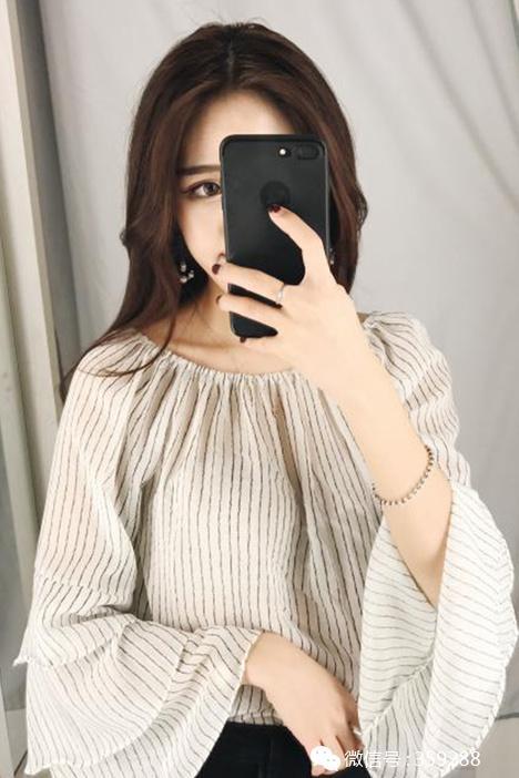推荐春季新款韩版一字领露肩条纹喇叭袖雪纺衬衫上衣送抹胸