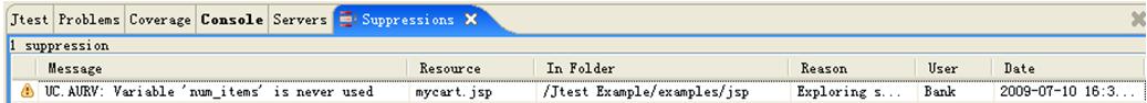 parasoft Jtest使用教程:禁止和取消禁止报告违例