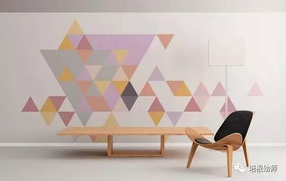 教育 正文  所需材料:卡纸,彩色胶带,胶水等 运用各种几何图形,在墙面图片