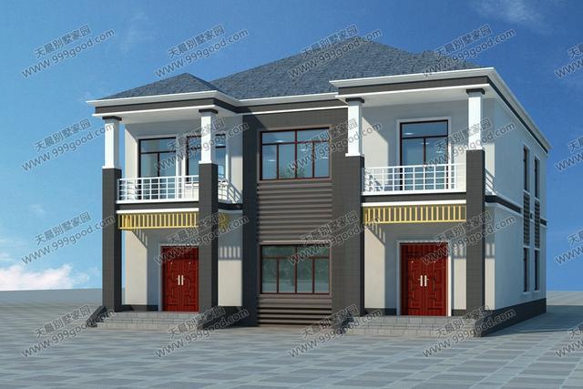 原因农村设计图,两层一体别墅,别墅两户!景观设计另类修改方案图片