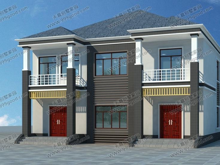 农村别墅设计图,两层另类别墅,一体两户!