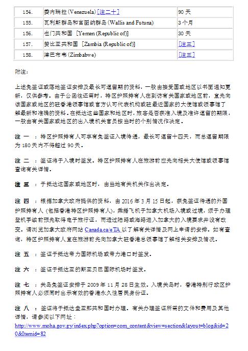香港护照免签国家批注信息