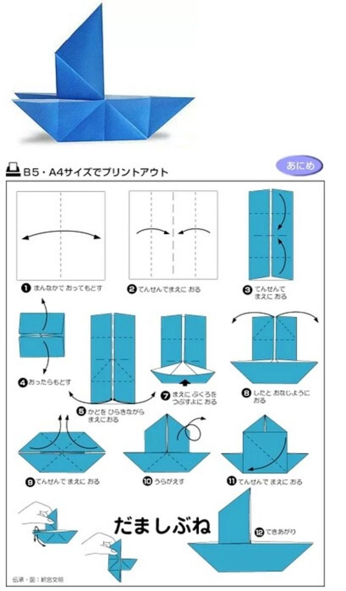 手工折纸大全 几种折纸船图解图片
