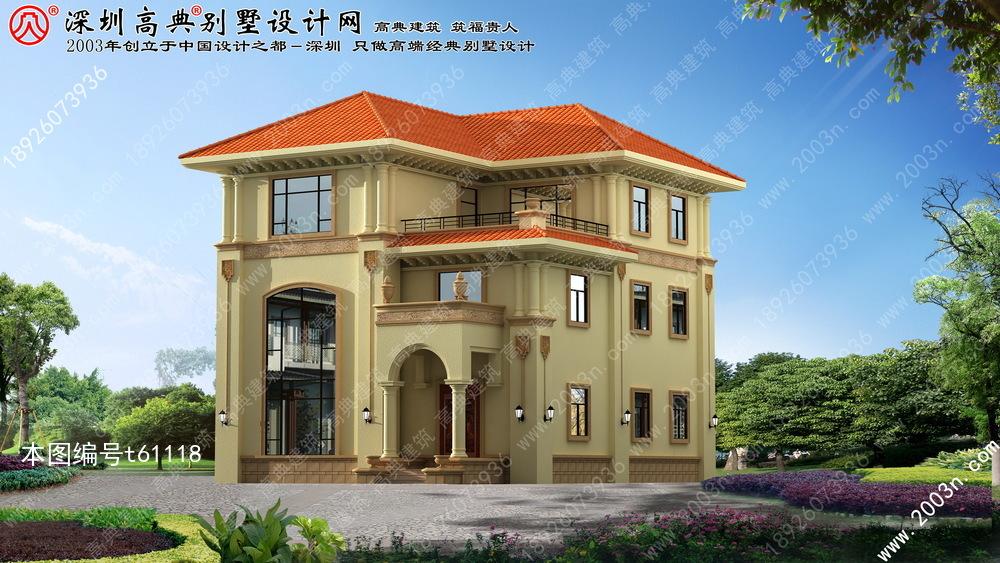 欧式别墅外观效果图, 农村自建别墅设计图纸, 农村三层别墅设计图