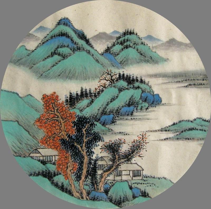 手绘团扇山水画