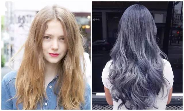 灰蓝色的染发长卷,比起金色的染色发量还是会更显得多一些.▼