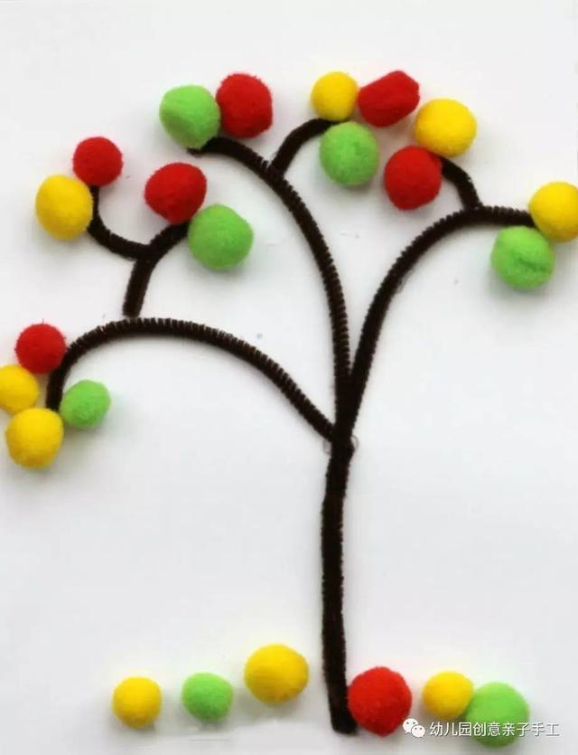 幼儿园亲子手工之植树节来啦,涂鸦粘贴多种玩法