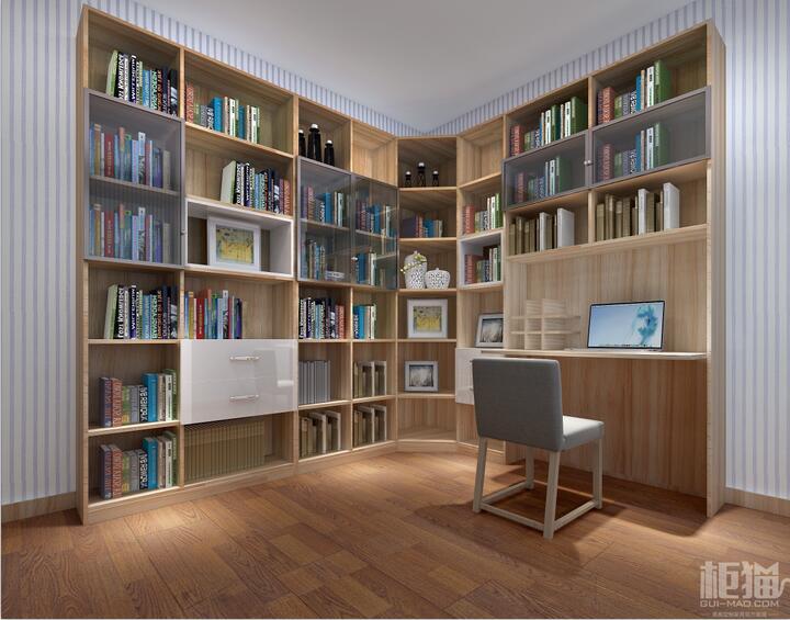 转角书柜设计 组合书柜电脑桌效果图