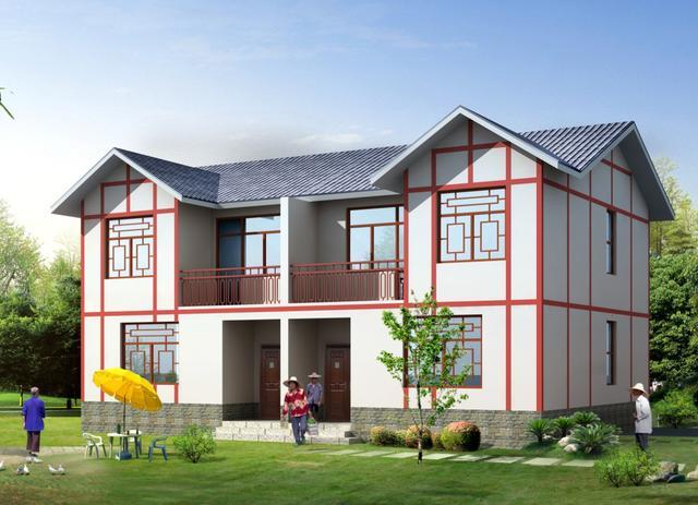 建房就选双拼,18X11米农村别墅,兄弟建房哥俩好图片