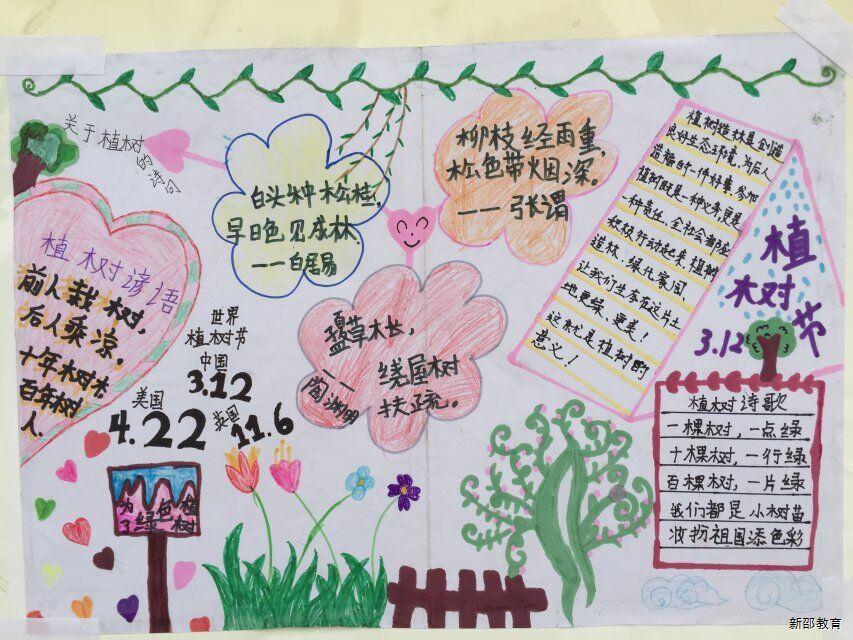 新邵县小塘镇言栗小学:举办植树节手抄报评比活动