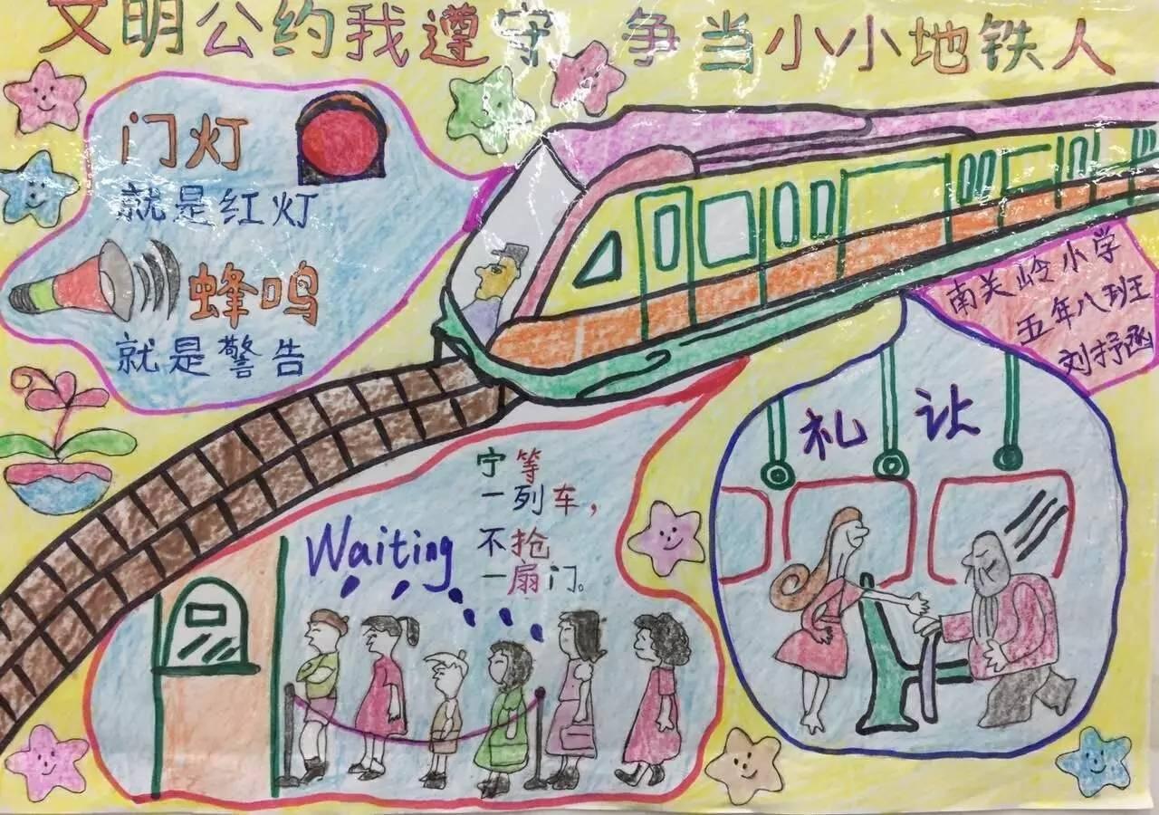 用画笔描绘出了一幅幅梦想中的地铁画卷,每一幅画都体现出同学们