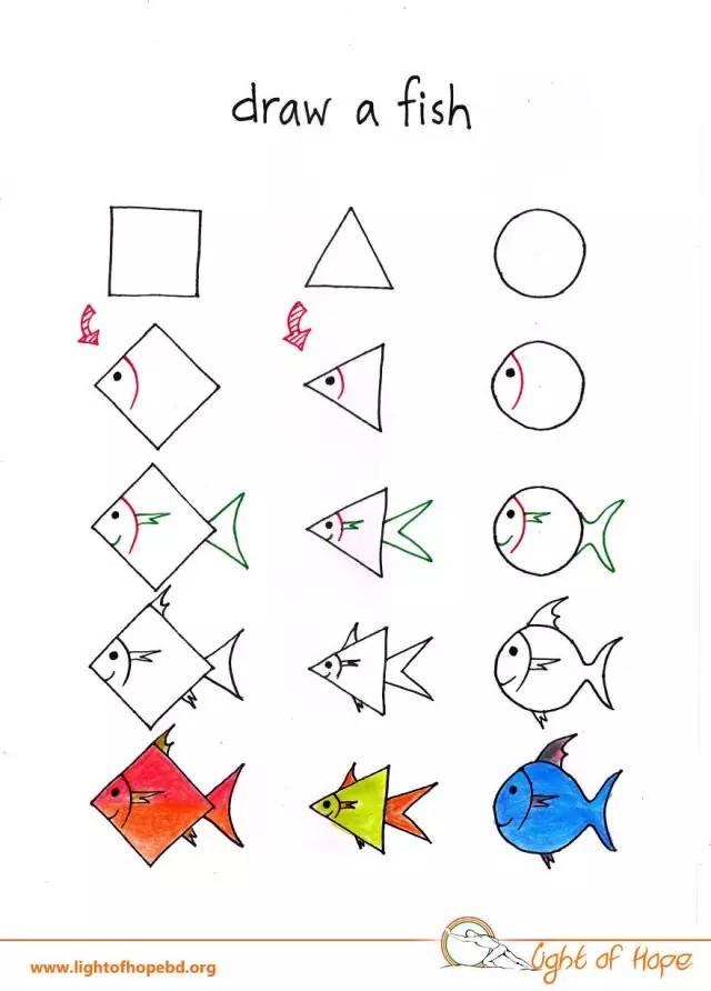 萌萌哒动物简笔画,只用三个图形就搞定,孩子一学就会