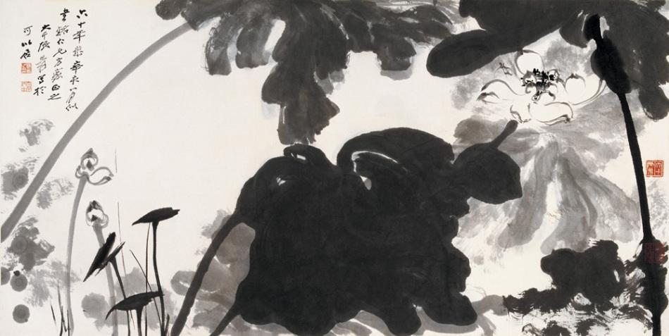 而这一时期的张大千伪画,简单在山水画中的小角色和水边的细草上呈现图片