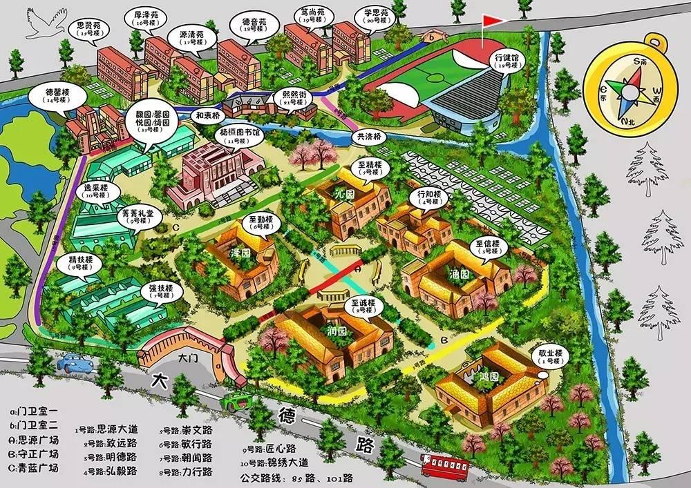 嘉兴南洋职业技术学院手绘地图