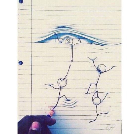 大神巧用本子线条做立体画