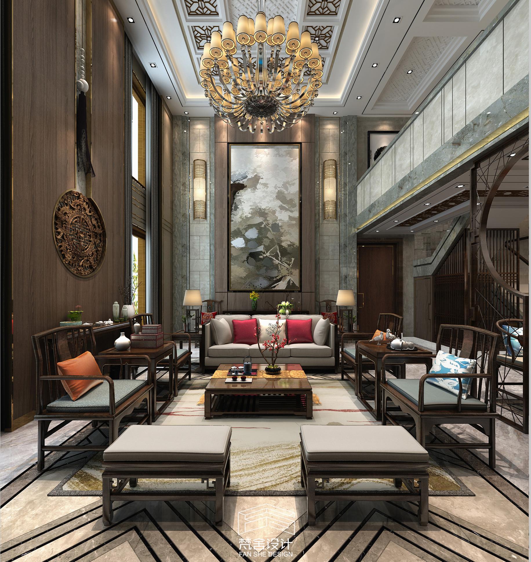 龙之梦300三层复式,一别墅挑空v复式,新中式风格二层别墅二层图片