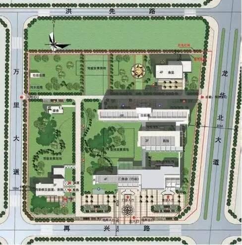 东西向约240~270m,南北向约 257m,规划建筑设计包括门急诊医技住院图片