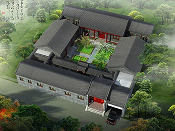仿古建筑农村小型四合院别墅设计案例赏析