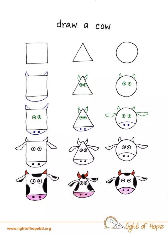 萌萌哒动物简笔画,只用三个图形就搞定