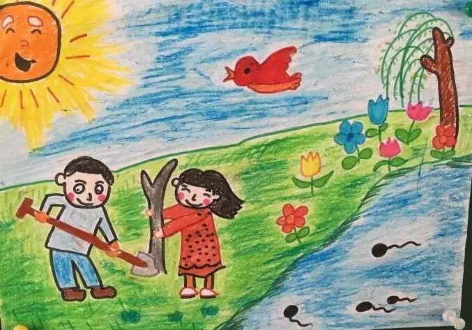 每一个孩子心中,都有一幅春天的画面,通常,他们用这种方式描绘春天图片