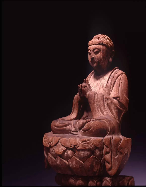 中国古代宋代 木雕佛坐像