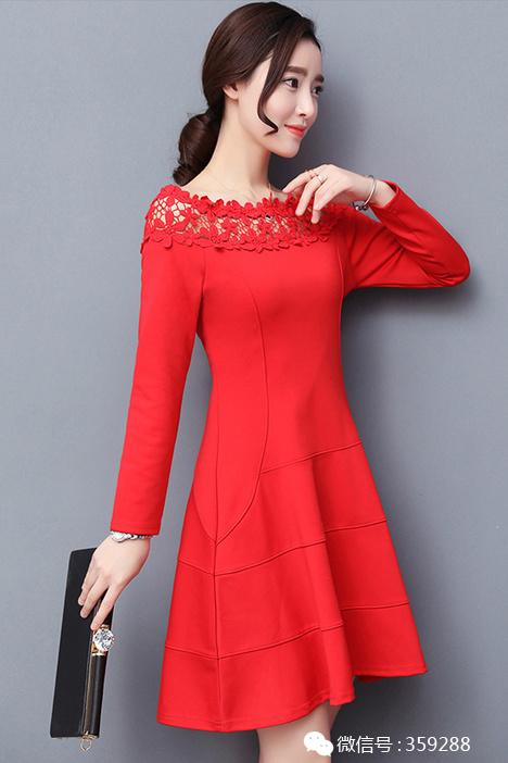新款韩版气质百搭一字领收腰显瘦连衣裙女中长款蕾丝拼接打底裙子图片