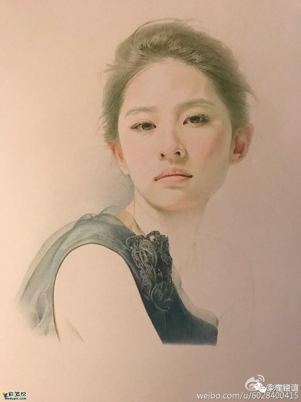 画人不容易,彩铅美女人物肖像过程图