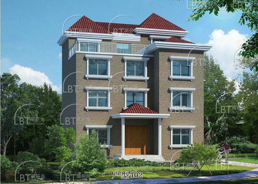 农村四层楼房设计图 四层别墅设计 有车库带门面!