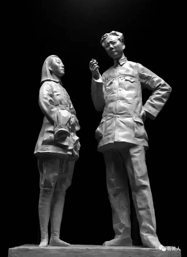 毛泽东贺知章铸铜雕塑年轻毛泽东