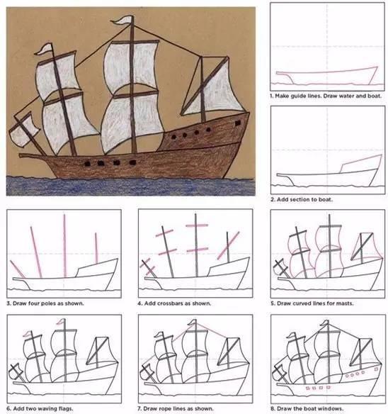 儿童简笔画 海上轮船帆船等各种画法等你来挑战图片